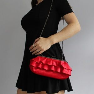 Silk Red Ruffle Handbag